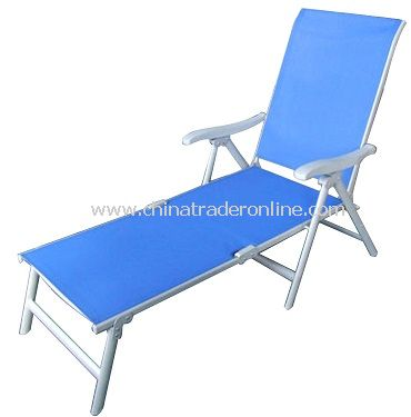 China Patio Furniture Steel Sling Folding Chaise Lounge / Sunbed
