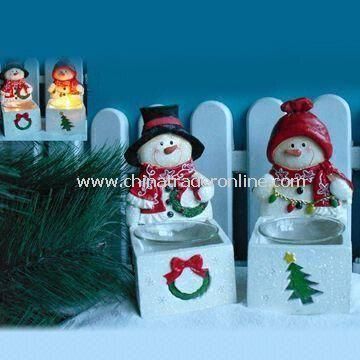 Christmas Decorations, Hand-painted Polyresin Snowman Candle Holder Craft