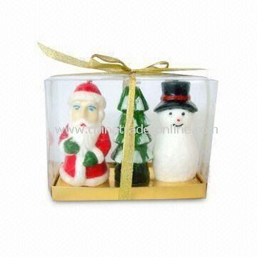 Christmas Tree Candle with Santa Claus and Snowman Design