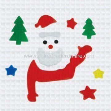 Christmas Window Stickers, Includes Snowman, Trees and Stars, Made of PVC