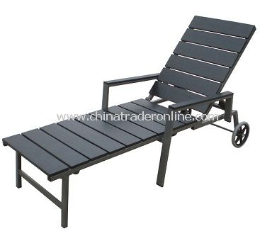European Style Outdoor Furniture WPC Slat Aluminum Chaise Lounge