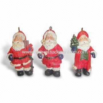 Hand-painted Christmas Santa Decoration, Made of Polyresin, OEM Orders are Accepted