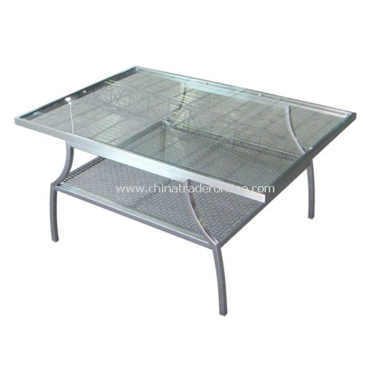 Louise Stainless Steel Coffee Table with Glass Top