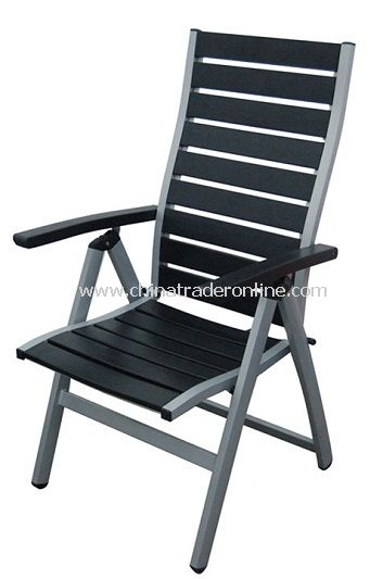 Outdoor Patio Wood Plastic Composite Slat 5-Level Adjustable Folding Chair