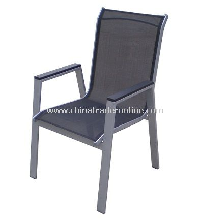 Patio Furniture Outdoor Sling Stacking Chair w/ WPC Arm