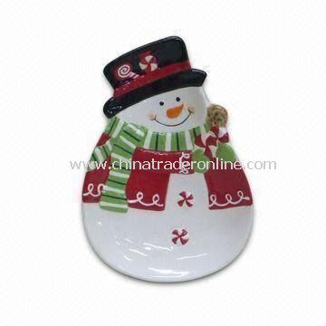 Plates, Available in Snowman Design, Suitable for Christmas Decoration