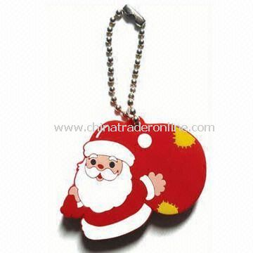 Rubber Keychain in Santa Claus Design, Customized Designs are Welcome from China