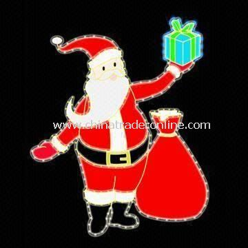 Santa Claus Collage, Outlined by Light Strings with Voltage 120V AC, Measures 92 x 74cm