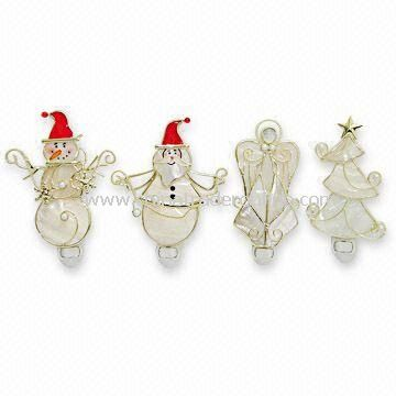 Shell Snowman/Angel/Tree Night-light Ornaments for Christmas Decorations, OEM Orders are Welcome