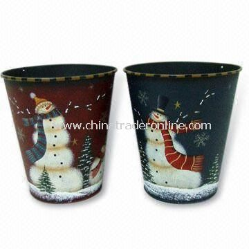 Snowman Bucket, Made of Metal and Wood, Measures 15 x 15 x 17cm