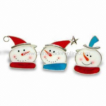 Stained Glass Snowman Ornament, Glass Crafts, Fashion Pendants, Available in Various Designs
