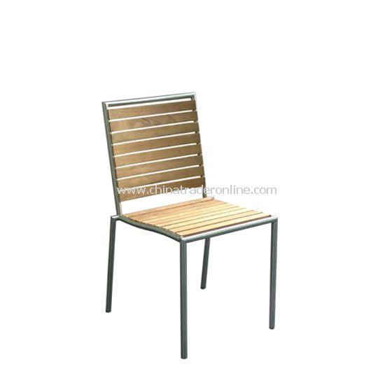 Stainless Steel Sidechair with teak