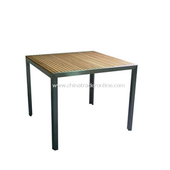 Stainless Steel Table Square 90*90cm with Teak top