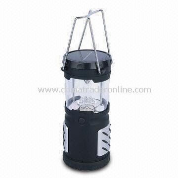 12 LED Camping Lantern with Solar Power Source, Made of ABS