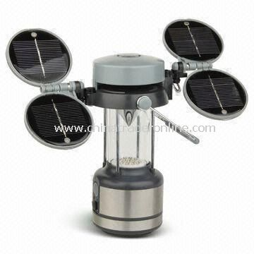 Camping Lantern with 17/32 Pieces LED and 4 Solar Panels, Available in Silver Color