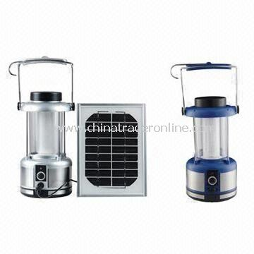 Clamping Lanterns with Solar Panel, Available in Blue and Silver, Made of Stainless Steel Bottom