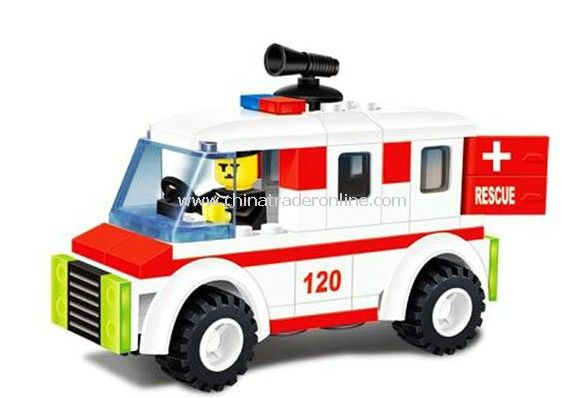 fire fighting car toy bricks, building blocks from China