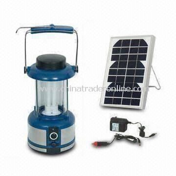 LED Camping Lantern with 4.5V/2.5Ah Lead-acid Battery and 3W Solar Panel Power