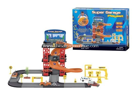 Parking lot Pretend Sets, Park & Play Service Garage with 3 plastic cars