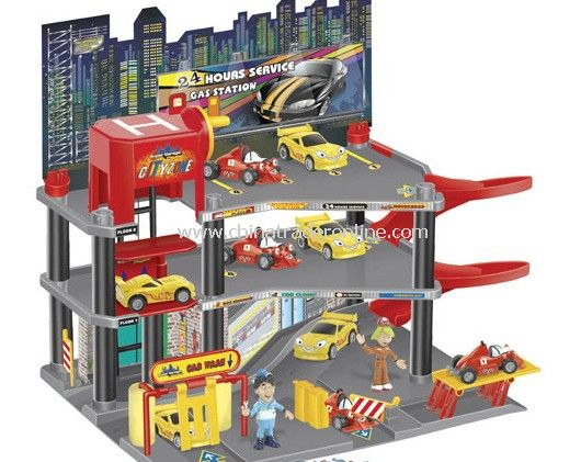 Parking lot Pretend Sets, Park & Play Service Garage with 4 cars and 2 men