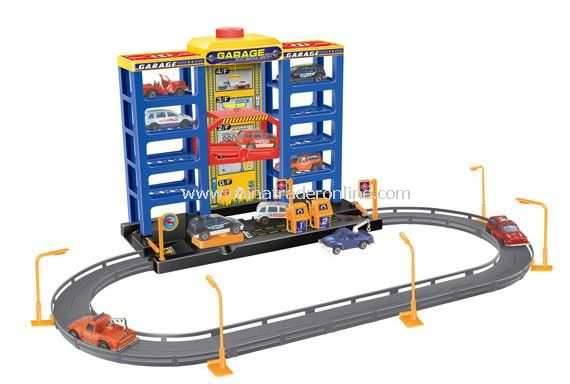 Parking lot Pretend Sets, Park & Play Service Garage with 6 plastic cars from China