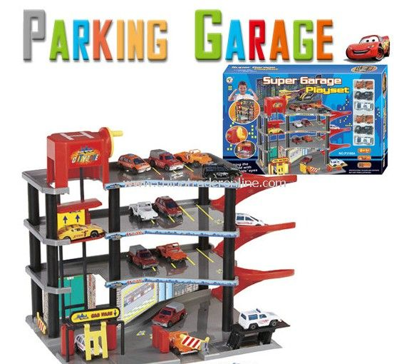 Parking lot Pretend Sets, Park & Play Service Garage with 6 plastic cars