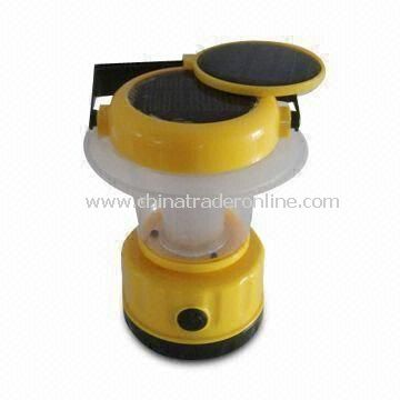 Solar Camping Lantern with Solar Panel on Top, Eight LEDs and Ni-Cd Battery