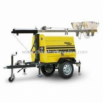 Mobile Diesel Light Tower with 9m Maximum Extension of Mast and 100L Fuel Tank Capacity