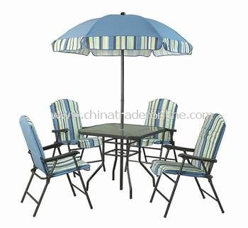 Outdoor Furniture 6pc Padded Folding Patio Dining Set with Swing Chair