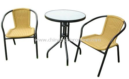 Outdoor Furniture Aluminum 3pc PE-Rattan Bistro Set