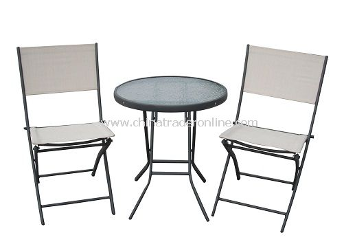 Outdoor Furniture Steel 3pc Sling Folding Bistro Set