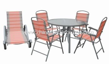 Outdoor Pool Furniture 5pc Folding Dining Set with Chaise Lounge
