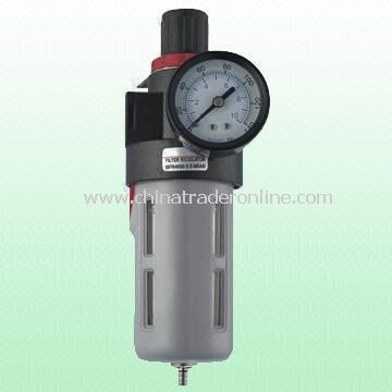 Air Regulator/Filter/Lubricator with 0 to 150psi Working Pressure, Measures 1/4, 3/8 and 1/2-inch