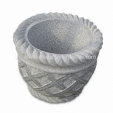 Basket-shaped Flower Pot for Garden Decoration, Made of Granite, Visual and Solid Planter from China