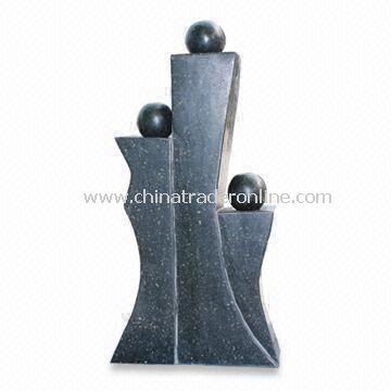 Family Shape Fountain, Stone Garden Ornaments, 3-LED Lights and Water Outlets, Ideal for Decoration