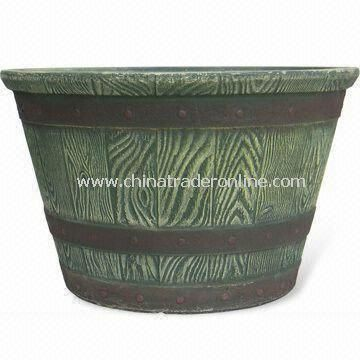Fiber Clay Whisky Barrel Planter, Suitable for Home and Garden Decoration