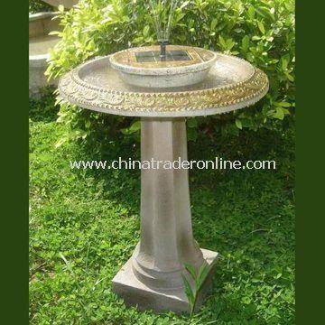 Garden Bird Bath with Solar Power, Made of Fiberglass Material
