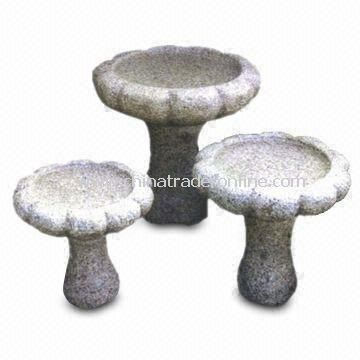 Garden Bird Bathing Basin, Made of Granite, Comes in Various Colors and Sizes