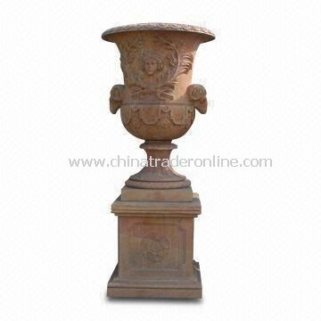 Garden Stone Flower Pot with Polished and Honed Surface Finishing, Suitable for Decoration from China