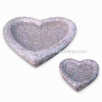 Heart-shaped Bird Bath, Made of Pink Granite, 2 Pieces Associated