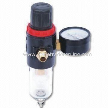 Regulator and Filter with Gauge, Moisture Drain, Turn Clockwise to Increase Pressure