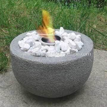 River Rock Stone Fire Pit with Gel Burner and Fire Pot, Ideal for Garden Decoration