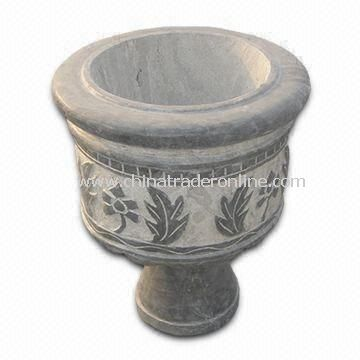 Stone Flower Pot with Polished Finish, Made of Limestone, Suitable for Garden Decoration