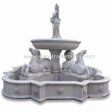 Stone Fountain, Suitable for Garden Decorations, Made of Travertine, Granite, and Limestone