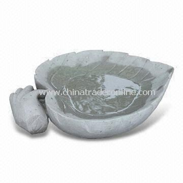Stone Garden Bird Bath in Leaf and Half-apple Shapes Ornament with Inner Surface Polished