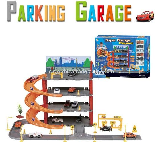 Park & Play Service Garage with 6 plastic cars
