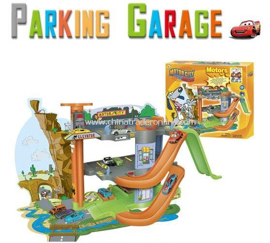 Parking garage toy set including 3 die cast car