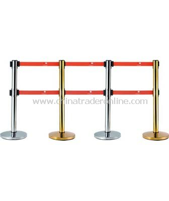DOUBLE HEADS RETRACTABLE BELT STANCHIONS/DOME BASE