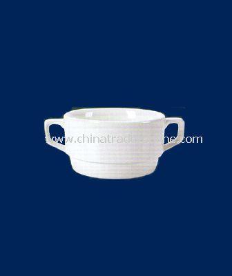 4  WHITE PORCELAIN SOUP CUP