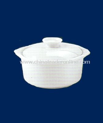 4.5  WHITE PORCELAIN SOUP CUP WITH LID